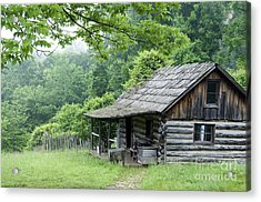 Log Cabin Fort New Salem Acrylic Print by Thomas R Fletcher