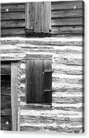 Log Cabin Walls 4 Bw Acrylic Print by Mary Bedy
