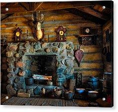 Log Cabin With Fireplace Acrylic Print by Paul Freidlund