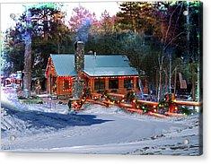 Log Home On Mount Charleston With Christmas Decoration Acrylic Print