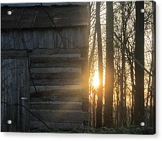 Log House Up Close And Sunset Acrylic Print