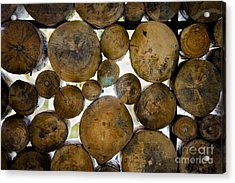 Log Stack Acrylic Print by Receb Parsel