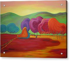 Acrylic Print featuring the painting Lollipop Ranch by Nancy Jolley