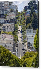 Lombard Street Acrylic Print by Adam Romanowicz