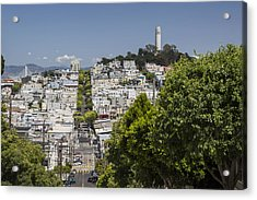 Lombard Street And Coit Tower On Telegraph Hill Acrylic Print by Adam Romanowicz