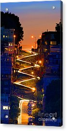 Lombard Street Depth Into The Darkness Of Light Acrylic Print
