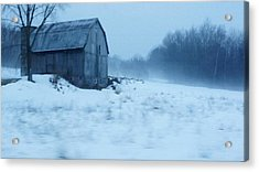 Lomesome Hip Roofed Barn Over Looking The Back Forty Acrylic Print by Rosemarie E Seppala