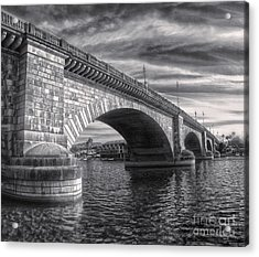 London Bridge In Black And White Acrylic Print by Gregory Dyer