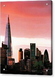 London City Skyline At Sunset - Acrylic Print by Shomos Uddin