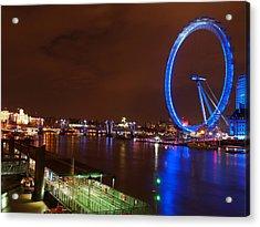 London Eye By Night Acrylic Print by Neven Milinkovic