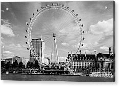 Acrylic Print featuring the photograph London Eye Head-on Bw by Matt Malloy
