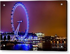 Acrylic Print featuring the photograph London Eye Night Glow by Matt Malloy