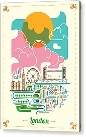 London Illustration In Color. Vector Acrylic Print