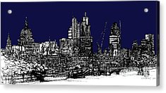 Dark Ink With Bright London Roofscape In Navy Blue Acrylic Print