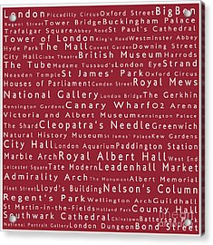 London In Words Red Acrylic Print by Sabine Jacobs