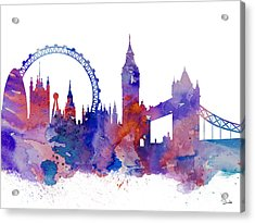 London Acrylic Print by Watercolor Girl