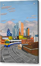 Acrylic Print featuring the painting London Overland Train-hoxton Station by Magdalena Frohnsdorff