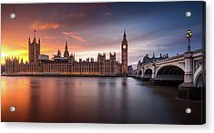 London Palace Of Westminster Sunset Acrylic Print