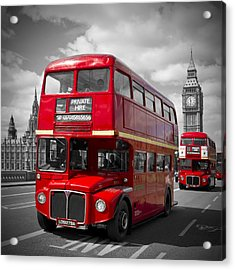 London Red Buses On Westminster Bridge Acrylic Print by Melanie Viola