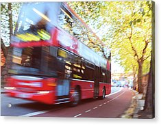 London Red Double Decker Bus Driving At Acrylic Print by Pavliha