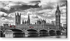 London River Thames And Red Buses On Westminster Bridge Acrylic Print
