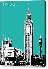 London Skyline Big Ben - Teal Acrylic Print by DB Artist
