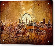 London Skyline Old Vintage  Acrylic Print