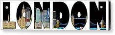 London Skyline Text Outline Color Illustration Acrylic Print