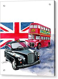 London Taxi And London Bus Acrylic Print by Yoshiharu Miyakawa