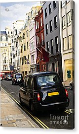 London Taxi On Shopping Street Acrylic Print by Elena Elisseeva