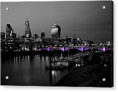 London Thames Bridges Bw Acrylic Print