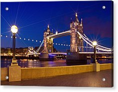 London Tower Bridge By Night Acrylic Print by Melanie Viola