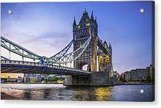 London Tower Bridge Illuminated At Sunset Over River Thames Panorama Acrylic Print by fotoVoyager