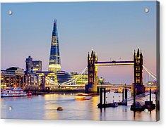 London, Tower Bridge, The Shard And Acrylic Print by Alan Copson
