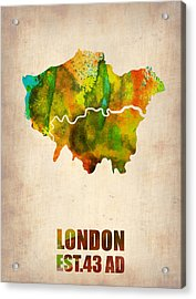 London Watercolor Map 1 Acrylic Print by Naxart Studio