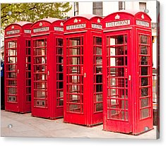 London's Red Phone Boxes Acrylic Print