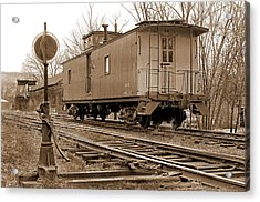 Lone Caboose Acrylic Print by Mike Flynn