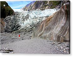 Acrylic Print featuring the photograph Lone Figure At Franz Joseph Glacier by David Rich