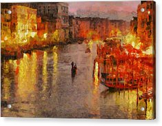 Acrylic Print featuring the painting Lone Gondolier At Night by Kai Saarto