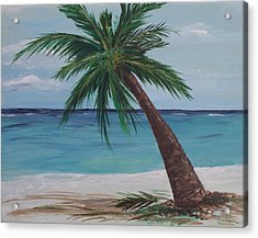 Acrylic Print featuring the painting Lone Palm by Debbie Baker