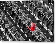 Lone Red Number 21 Fenway Park Bw Acrylic Print