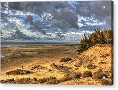 Lone Stroller On A Vast Beach Under Dramatic Sky Acrylic Print