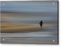 Acrylic Print featuring the photograph Lone Surfing Walking A Surreal Shoreline by David Orias