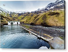 Lone Tourist At Seljavallalaug Pool Acrylic Print by Anna Gorin