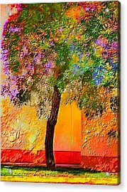 Lone Tree Against Orange Wall - Vertical Acrylic Print