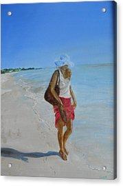 Lonely Beach Walk Acrylic Print by Joyce Reid