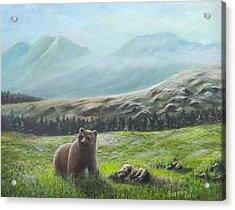 Acrylic Print featuring the painting Lonely Bear by Bozena Zajaczkowska