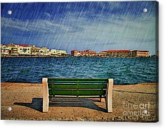 Lonely Bench In Rain Acrylic Print