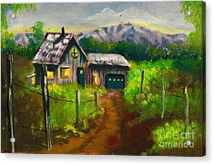 Lonely Cabin Acrylic Print by Donna Chaasadah