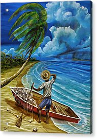 Acrylic Print featuring the painting Lonely Fisherman by Steve Ozment